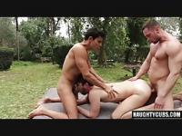 Russian gay threesome outdoor flip flop and cumshot