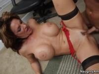 Handsome busty mature woman Deauxma in amazing stockings