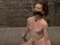 Marvelous red-haired tart is fucking in BDSM porn