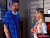 Blonde and busty nurse gets fucked hard by the doctor