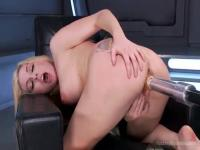 Machines enter her pussy hard