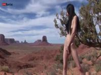 Young brunette masturbates by the Grand Canyon