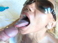 Blonde MILF face-drenched with cum