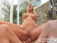 Blonde swallows and rides hard