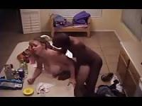 Cheating wife and black boyfriend caught fucking in kitchen