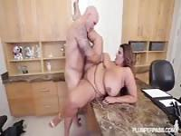 Big woman, big boobs, and wonderful office banging