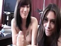 Auntie and mom's hot POV handjob