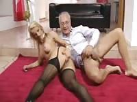Grandpa and his hot grandma wife still making love perfectly