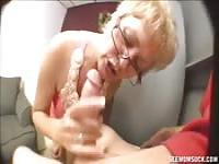 Grandson's cock in grandma's throat