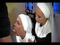 Two nuns suck and fuck the priest
