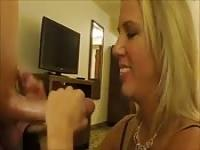 Blonde MILF was excited to bestow a baller handjob