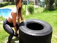 Her workout routine will get your cock hard as her ass