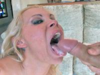 Horny blonde swallowing hot cum