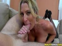 Cute shaved mom Jennifer Best is sucking my cock