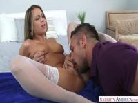 Pleasing trimmed Kendall Kayden is getting wild when receiving a cumshot on her face