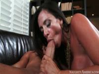 Adorable dusky mature lady Ariella Ferrera featuring hot sex action ending with cumshot