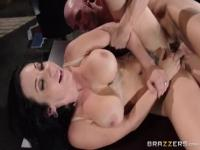 Comely buxomy secretary Jayden Jaymes giving a hot handjob