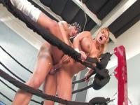 Teasing buxomy Shyla Stylez getting sperm blast on her face