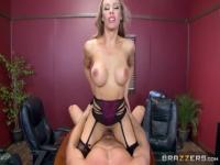 Classy breasty Nicole Aniston is stretched by an amazing sex toy