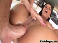 Lovely breasty young tart Diamond Kitty is sucking cock hard