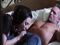 Delightful breasty latino Ariella Ferrera giving a beautiful BJ