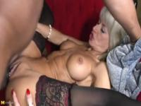 Good-looking breasty mature woman is getting a nice cumshot