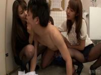 Nice busty Japanese teenage gal is in love with pissing behind the camera