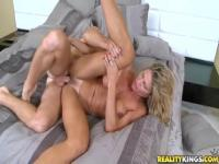 Sexy fair-haired mom Crystal is blowing a cock