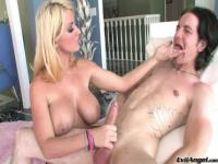 Charming golden-haired Sophie Dee receiving a cumshot