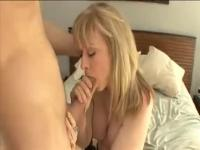 Racy unhaven mature lady Nina Hartley is getting a nice cumshot