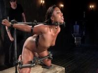 Adorable brunette Chanell Heart performing in BDSM video