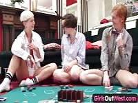 Strip poker threesome sex