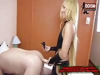 Sexy blonde strap on fucking her male slave