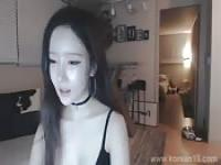 asian teasing on webcam