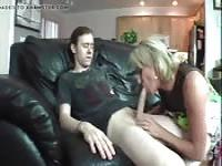 Horny blonde fucks her stepbrother