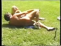 Hot blonde girl enjoys outdoor sex