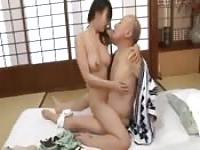 Old Japanese Man And Young Woman