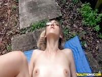 Skinny slut gets her pussy stretched