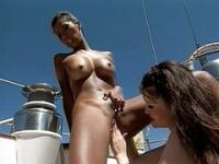 Asian threesome on a boat