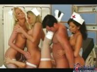 Four horny nurses share one lucky dick