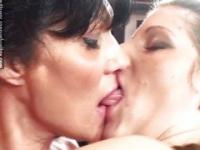 Three lesbians kissing and making love