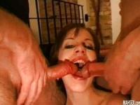 Brunette gives double blowjob with bukkake