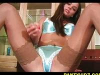 Renee Perez and her blue satin undies