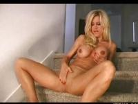 Bossy Amber in pantyhose teaches jerking off