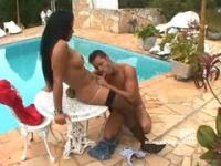 Shemale fucks guy at the pool