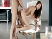 Ass-fucked over a chair