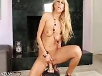 Spectacular blonde masturbates in front of the camera
