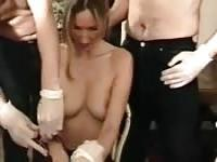 A French submissive blonde