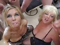Two mature women thirsty for cum