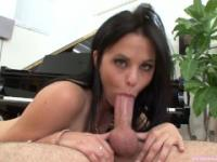 Brooklyn Daniels sucks and takes a huge mouthful of cum